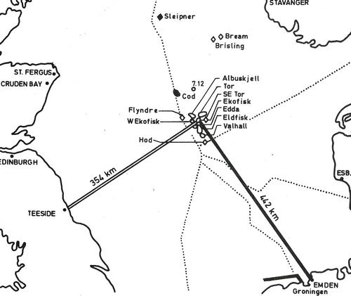 Norpipe oljerør til Teesside i Storbritannia, og Norpipe gassrør til Emden i Vest-Tyskland