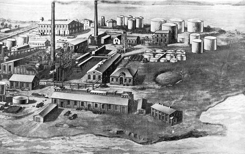Tegning av Vallø oljeraffineri. Illustrasjon fra boken Vallø oljeraffineri 1899-1924.