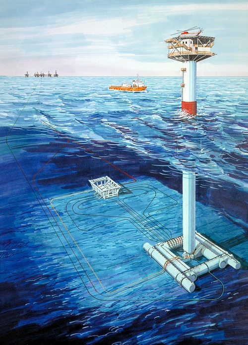 Subsea installations at the North East Frigg field. Startup of production was in December 1983.