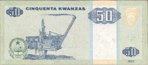 50 kwanzas pengeseddel-fra Angola med Draugen- plattformen som motiv
