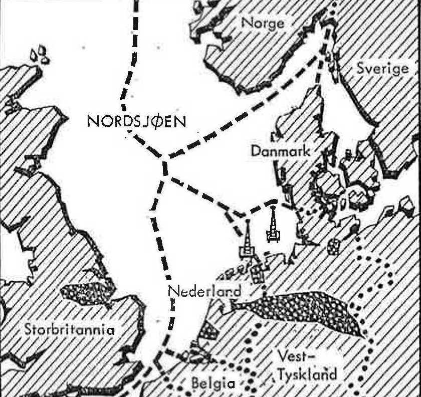 Grenselinjer i Nordsjøen per 1965. Kart fra Hvem, hva, hvor 1965.